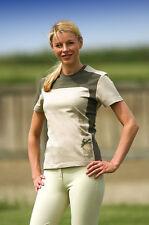 Equi Theme Ladies Turn 100% Cotton Equestrian Tshirt - Beige/Khaki