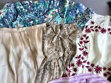 Women White Floral Embroidered Short Sleeve Long Formal Skirt Dress Shirts