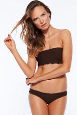 Brown Lace Up Back Strapless Bandeau Thong Bikini Swimwear Swimsuit Size 8-10