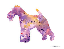 Wire Fox Terrier Contemporary Watercolor Abstract Art Print by Artist Djr
