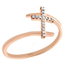 10K Rose Gold Round Diamond Sideways Cross Right Hand Fashion Ring 1/12 Ct.
