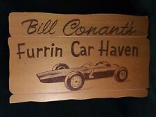 Vintage Sports Racing Car Sign Plaque BILL CONANT'S FURRIN CAR HAVEN 1950s-60s
