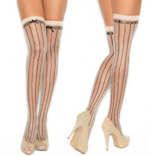 Women Sexy Lingerie Sheer Thigh High Stockings Stripes Lace Detail Stay Hold-up