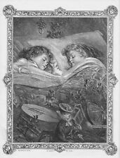 Victorian Christmas Scene Children Dreaming of Toys - Antique Print 1869