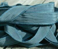 STEEL BLUE Silk Ribbons Hand Dyed Qty 5 JamnGlass Crinkle Dark Gray Blue Strings