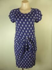 COUNTRY ROAD blue white Geo print mock wrap tie skirt Jersey dress 8     (awl10)