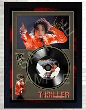 Thriller MICHAEL JACKSON MUSIC  SIGNED FRAMED PHOTO LP Vinyl Great Gift