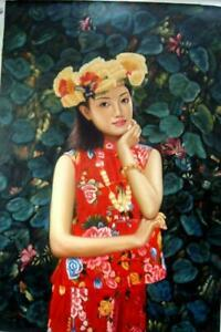 Realistic Oil Painting :Beautiful Chinese Girl 93x63CM ;37x24 inches