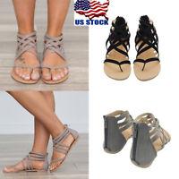 US Summer Womens Fashion Toe Flat Shoes Zipper Back Low Heels Sandals Flip Flops