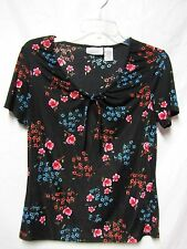 JACLYN SMITH top shirt blouse Small 6 Bust 36 stretchy fabric Black Floral Multi