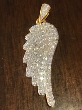 Angel Wing Pendant 14k Gold Plated Genuine Sterling Silver Simulated Diamonds