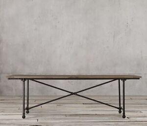 Restoration Hardware FLATIRON Industrial Reclaimed Wood Steel Frame Dining Table