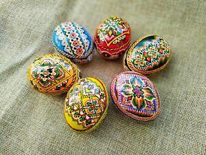 Set of 6 Wooden Easter Eggs Hand Painted Ukrainian Pysanka Easter Decor #4