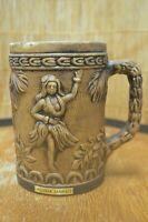 Vintage Aloha Hawaii Dancing Hula Girl Pineapple Brown HandledCoffee Mug Cup