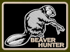 "BEAVER HUNTER EMBROIDERED PATCH ~3-1/4"" x 2-1/4"" LAKE DAM TAIL BRODÉ AUFNÄHER"