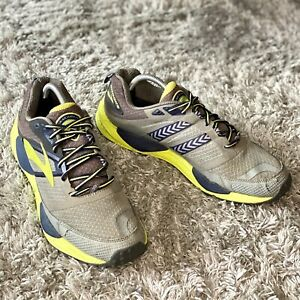 Brooks Men's Size US 10 D CASCADIA 12 Gray Black Lime Running Shoes Lace Up