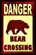 *BEAR CROSSING* MADE IN USA! METAL SIGN 8X12 LOG CABIN RUSTIC DISTRESSED LODGE