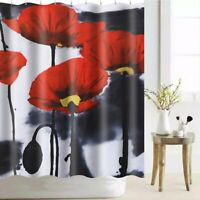 180X180CM Red Flower Polyester Shower Curtain Set Waterproof Bathroom Home Decor