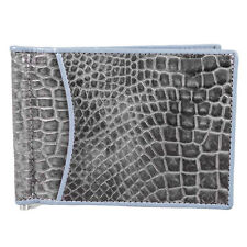 Genuine Crocodile Leather Money Clip Bifold Credit Card Holder KTM Grey Wallet