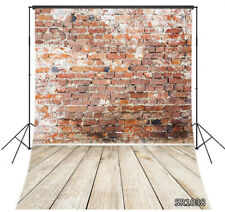8X10FT Rustic Red Brick Wall Wood Floor Seamless Vinyl Backdrop Photo Background