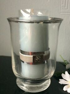Large Hurricane Glass Candle Holder With WAX Décor Clear Tealight Xmas Table