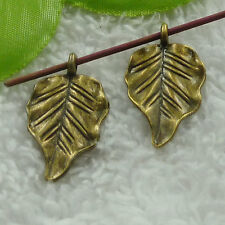 free ship 60 pcs bronze plated leaves charms 31x17mm #3807