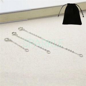 925 Sterling Silver Chain Extender Necklace Bracelet 2 3 4 Inches Lobster Clasp
