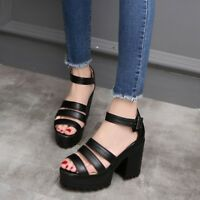 Womens Block High Heel Platform Solid Buckle Sandals Open Toe Ankle Strap Shoes