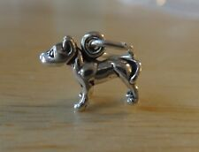 Sterling Silver Tiny 9x12mm Solid Pit Bull American Staffordshire Terrier Charm
