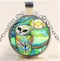 Cute Celtic Owl Photo Cabochon Glass Tibet Silver Chain Pendant Necklace