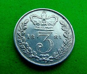 MINT  LUSTRED  GVF/EF  *1881*  SILVER  THREEPENCE  3d ...LUCIDO_8  COINS