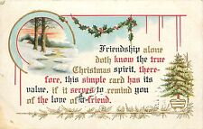 Christmas pm 1911 Friendship Embossed Holly Winter Scene Postcard