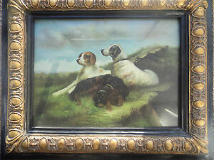 20C DECORATIVE PICTURE&nice frame, Three dogs in landscape setting ,RARE ,glazed