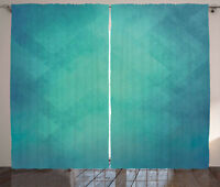 Teal Curtains Retro Grunge Tranquil Window Drapes 2 Panel Set 108x90 Inches