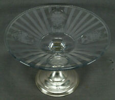 Hawkes ABP American Brilliant Sheraton Engraved Cut Crystal & Sterling Compote