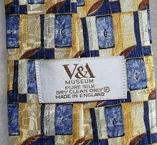 V&A PURA SETA Victoria & Albert Museum Cravatta Da Uomo Cravatta Blu Golden CREMA Retrò