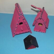 "3 Mini Hanging Bird Houses 2 Pink & 1 Lady Bug Red Black Decorative 6"" 4.5"" & 2"""