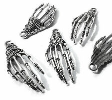 5 x 40mm Skeleton Hand Charm Pendants, Silver Plated, Halloween Gothic Wicca,