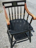 Nichols & Stone Harvard University Veritas (Truth) Black Chair w/ Brown/Gold