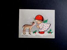 Vintage Unused Ars Sacra Xmas Greeting Card by Eva Harta ~ Angel Kissing a Fawn