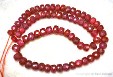 "RUBY 3.5-4.5mm FACETED Rondelle 9"" strand 45Ctw (90 Precious Ruby Beads approx.)"