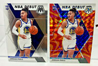 Jordan Poole 2 Card Lot 2019-20 Mosaic Reactive Orange Prizm & Base Rookie Cards