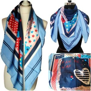 Fashion Scarf Boho Pin Up Vintage 50s 60s Blue Trendy Wrap Shawl Stole UK Seller
