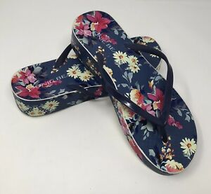 Vionic Beach Bronte Womens Size 9 Platform Flip Flops Floral Print Slip On Navy