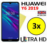 3x ULTRA HD CRYSTAL CLEAR SCREEN PROTECTOR COVER FILM GUARD FOR HUAWEI Y6 2019