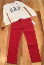Gap Kids Girls Size 6 Outfit. Gap Logo Shirt & Red (Skinny Fit) Pants. Nwt