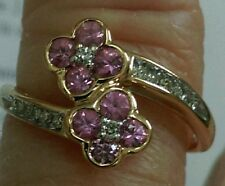 Pink Tourmaline & Diamond Ring 14kt Yellow Gold Size 7