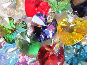 Swarovski Xilion Heart Crystal Birthstone Necklace Sterling Silver Snake Chain