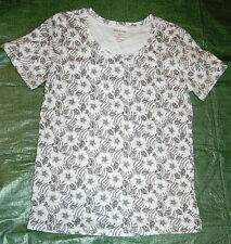 Black White WHITE STAG SCOOP NECK Tee Shirt Womens Small 4-6 Floral Print NWOT