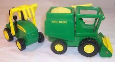 John Deere Farm Trucks: Grain Spreader and Hay Bail Loader Tractor